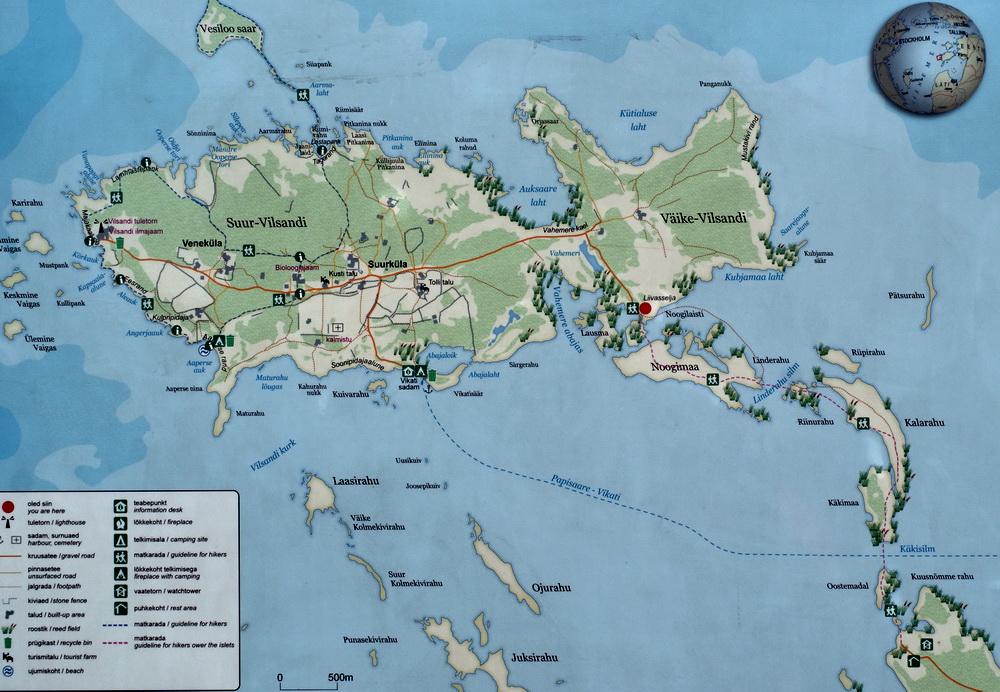 Карта тропы на остров Вильсанди