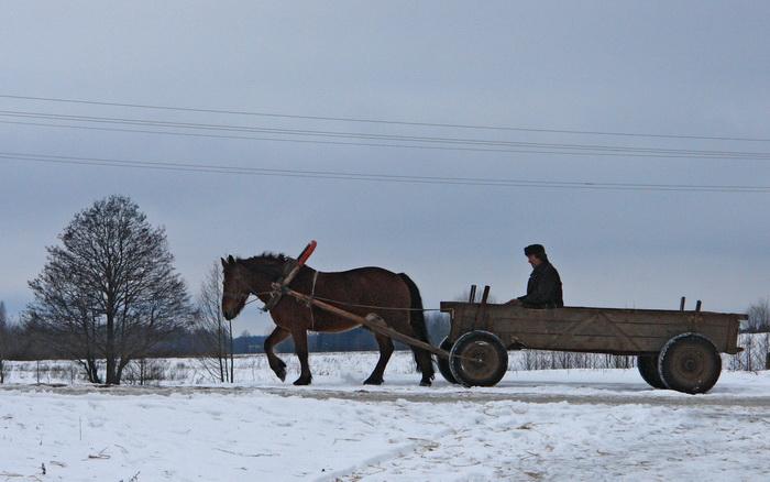 Жемыславль, крестьянин на возу, зима